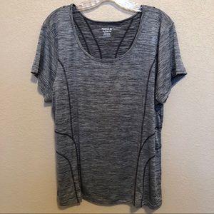 REEBOK Dri Fit Gray Short Sleeve Workout Top